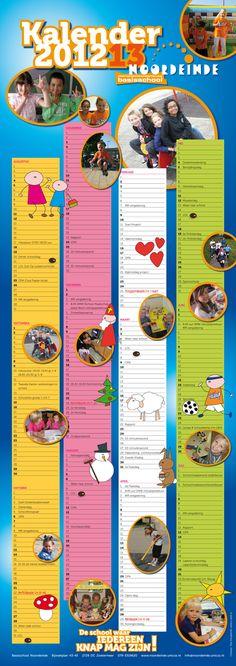 Schoolkalender 2012-2013 voor Basisschool Noordeinde in Zoetermeer.  Formaat 840 x 297 mm.