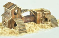 A natural-wood gerbil mansion for tiny critters that live large.