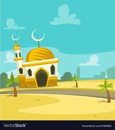 Mosque Vector, Ramadan Crafts, Islamic Cartoon, Beautiful Mosques, Islamic Wallpaper, Drawing For Kids, Cute Illustration, Islamic Art, Toddler Activities