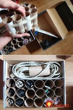 Cord Management Life Hacks for No More Tangled Wires! Organizer Box Made with Paper Roll Tubes The post Cord Management Life Hacks for No More Tangled Wires! appeared first on Best Of Daily Sharing. Organisation Hacks, Storage Hacks, Storage Organization, Storage Ideas, Cord Storage, Craft Storage, Cable Storage, Organization Ideas For The Home, Garage Storage