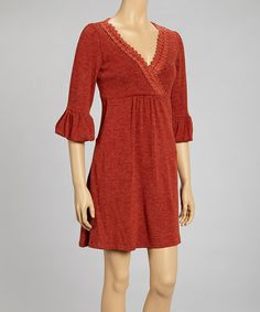 Look what I found on #zulily! Red Ruffle Lace-Trim Pleated Surplice Dress #zulilyfinds