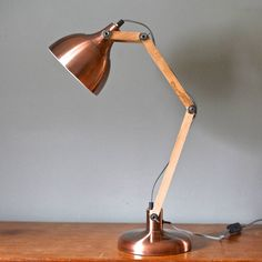 Copper And Wood Angled Table Lamp