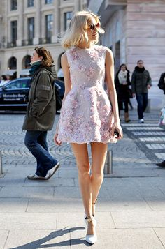 Elena Perminova in Pastel pink roses embellished mini girly #dress I street style #fashion