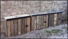 Caches poubelles 001 Palette, Outdoor Furniture, Outdoor Decor, Outdoor Storage, Woody, Home Decor, Gardens, Hide Trash Cans, Bricolage