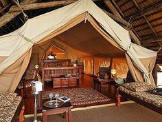 Finch Hattons, Kenya, Africa Luxury rustic safari camp tents glamping www. Camping Glamping, Luxury Camping, Camping Resort, Camping Ideas, Camping Tent Decorations, Tent Platform, Wall Tent, Tent Room, British Colonial Decor