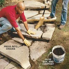DIY stone steps for the terrace