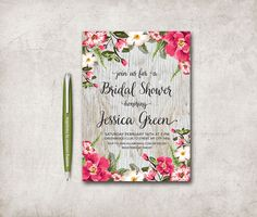 Floral Bridal Shower Invitation Printable, Rustic Bridal Shower, Birthday Invite, Digital File - Floral Invitation - pinned by pin4etsy.com