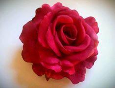 Large Red Rose Hair Clip by PuffyCheeks by puffycheeksbowteek, $12.00