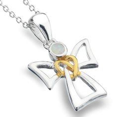 Sterling Silver jewellery, Sterling Silver and Gold Angel Pendant with Opal Detail