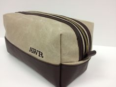 Personalized  Gifts for Groomsman Toiletry Bag Natural Ivory Waxed Canvas and Leather Travel Bag Shaving Bag Gift for Man Dopp Kit