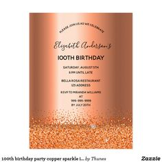 Shop birthday party copper sparkle invitation postcard created by Thunes. Sparkle Party, 90th Birthday Parties, Birthday Invitations, Copper, Metallic, 30th, Creative Photoshop, Sweet Sixteen, Script