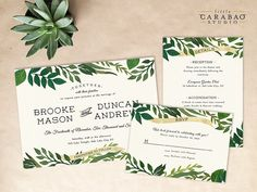 Wedding Invitation PRINTED Sample Wedding Invitation Suite Botanical Wedding Invitation Set - Little Carabao Studio - #006