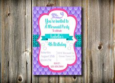 Printable Birthday Invitation Mermaid Party by LizzieClaireShop