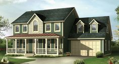 Looking for an affordable two-story country home? the DURHAM House Plan 3763 is just under 2,100 square feet but features 4 Bedrooms and 2.5 Baths | http://www.thehousedesigners.com/plan/durham-3763/