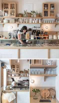 An Building Was Transformed Into A Contemporary Cafe In Greece : A wood and white color palette has been used throughout this modern cafe with simple wood shelves and cabinets providing storage for the variety of plates and cups. Deco Restaurant, Restaurant Design, Modern Restaurant, Restaurant Shelving, Wood Cafe, Cafe Counter, Cafe Interior Design, Kitchen Remodel Cost, Vintage Cafe