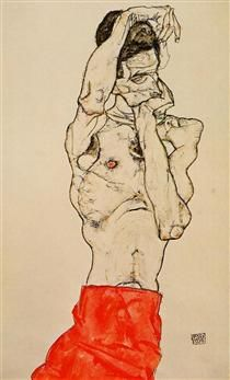 Hand painted reproduction of the painting Standing Male Nude with a Red Loincloth by Egon Schiele. Commission your beautiful hand painted reproduction of Standing Male Nude with a Red Loincloth. Art And Illustration, Gustav Klimt, Figure Drawing, Painting & Drawing, Egon Schiele Drawings, Figurative Art, Art Inspo, Art History, Art Reference