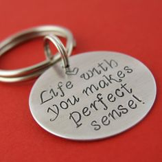 Personalized Keychain - Custom text, song lyric, quote or kids names in your choice of metal...... Sooo cute must have