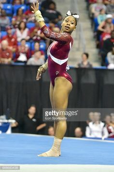 Alabama's Kiana Winston during her floor routine during semifinal 2 of the NCAA Women's Gymnastics National Championship on April 14, 2017, at Chaifetz Arena in St. Louis, MO.