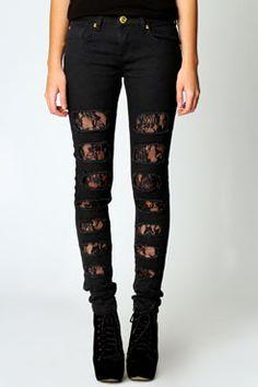 lace-insert-black-skinny-ripped-designer-jeans-for-ladies womans designer jeans - Woman Jeans Skinny Fit Jeans, Womens Ripped Jeans, Black Ripped Jeans, Black Skinnies, Black Denim, Jeans Women, Lace Jeans, Denim Jeans, Holey Jeans
