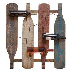 Whimsical, artistic wine rack.