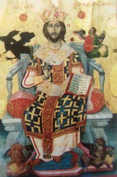 Ο Χριστός στο τύπο του Βασιλέα των Βασιλευόντων και Μεγάλου Αρχιερέα. Δεσποτική εικόνα στο ναό του Αγίου Χαραλάμπους στο Φρύνι. Έργο του   Στυλιανού Δεβάρη.