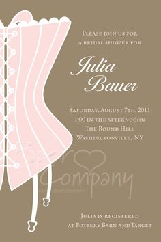CLASSY CORSET Bridal Shower Invitation / by PaperHeartCompany, $15.00
