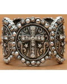 Wear N.E. Wear Silver Medallion Crosses w/ Clear & Silver Crystals Large Stretch Bracelet