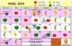 calendrier lunaire Avril 2015 du Comité Local des jardins familiaux d`Hérouville St Clair