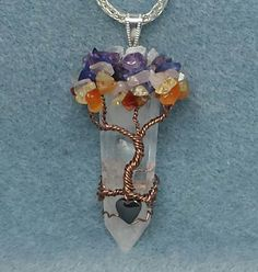 Chakra Tree of Life Crystal Pendant created using Genuine Gemstone Chips Made to Order by SonoraKayCreations on Etsy Wire Wrapped Pendant, Wire Wrapped Jewelry, Wire Jewelry, Jewelry Crafts, Beaded Jewelry, Crystal Pendant, Crystal Jewelry, Wire Tree Sculpture, Wire Trees