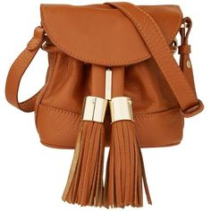 See By Chloe Vicki Tassel Cross Body Bag (9.446.565 VND) ❤ liked on Polyvore featuring bags, handbags, shoulder bags, tan, brown leather shoulder bag, brown crossbody purse, leather handbags, tan leather handbags and tan leather purse