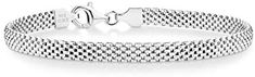 Miabella 925 Sterling Silver Italian 5mm Mesh Link Chain Bracelet for Women, 6.5, 7, 7.5, 8 Inch Made in Italy