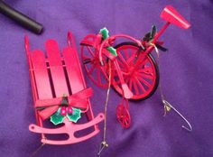 3 Vintage Red Metal Xmas Ornaments-Old Time Bicycle,Unicycle w/stand & Red Sled