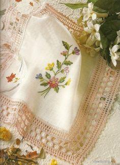 Crochet and embroidery - beautiful! Crochet Dollies, Crochet Fabric, Crochet Motifs, Crochet Quilt, Crochet Borders, Crochet Chart, Crochet Trim, Crochet Lace, Crochet Stitches