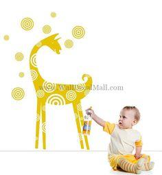 Giraffe And Spots Shape Wall Decals – WallDecalMall.com