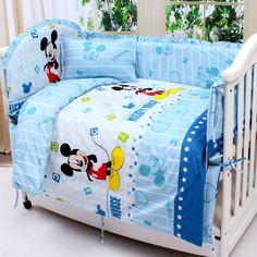 Promotion! 7pcs Mickey Mouse crib sheets,bedding set for girls,100% cotton crib bedding sets (bumper+duvet+matress+pillow)