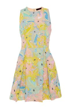 This **Manish Arora** Life Aquatic Embroidered Chiffon Dress features a crew neck with a fitted bodice and a full pleated mini skirt in a beaded and embroidered print.