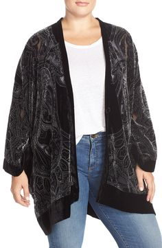 Melissa McCarthy Seven7 Burnout Velvet Kimono (Plus Size)