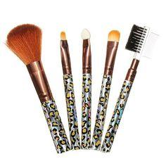 5PCS Cosmetic Leopard Makeup Powder Blush Eye Shadow Brush Sets