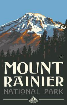 Mount Rainier National Park Washington Travel Art Print Poster by Paul A. Lanquist x National Park Posters, Us National Parks, Washington Nationals Park, Washington State, Western Washington, State Parks, Mount Rainier National Park, Park Art, Illustration