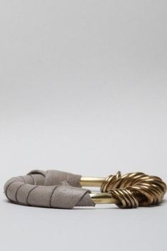 ACB by Annie Costello Brown Leather Wrapped Rings Bangle (Grey)