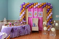 Purple and gold baby shower party backdrop and dessert table! See more party planning ideas at CatchMyParty.com!