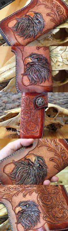 Handmade red brown leather floral eagle carved men biker wallet bifold | EverHandmade