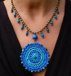SKY GIPSY MANDALA crochet necklace boho necklace brass ball chain necklace ethnic jewelry mandala tribal pendant turquoise crochet pendant de PanoParaTanto en Etsy https://www.etsy.com/es/listing/213439653/sky-gipsy-mandala-crochet-necklace-boho:
