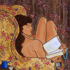 Omar Khayam, A l'heure de la sieste, Mona Trad Dabaji 5 People Reading, Book People, Reading Art, Woman Reading, Happy Reading, Ribbon In The Sky, Favorite Pastime, Pictures Of People, Lectures
