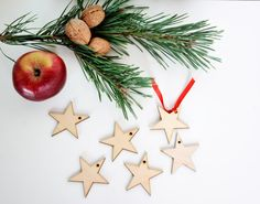 set of 50 wooden star shapes, Christmas tree decor, gift packaging winter season holiday shape table tag set DIY unfinished laser cut cutout