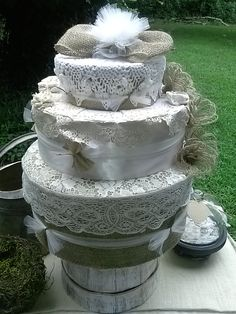 Fake Wedding Cake, Burlap and Lace wedding cake, Rustic wedding decor, 3 tiered hat box cake, faux cake