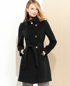 Tahari Izzy Asymmetrical Wool-Blend Coat. Country Apple is the best color.