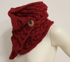 red chunky buttoned cowl, cable knit scarf
