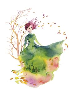Fallen Leaves - Art Print  fashion sketch design autumn bird spirit lady  woman nature watercolor painting Oladesign 5x7