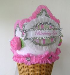 BIRTHDAY GIRL   white glitter  Crown  Hat  Adult or by glamhatter, $24.00
